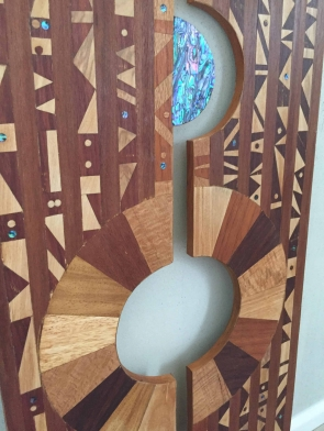 Dimensions portal original wood hanging wall art by Dagmar Maini Brisbane