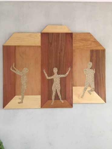 BREAK FREE wooden modern wall hanging art Dagmar Maini Brisbane