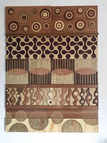 3D abstract wood hanging art by Dagmar Maini Brisbane