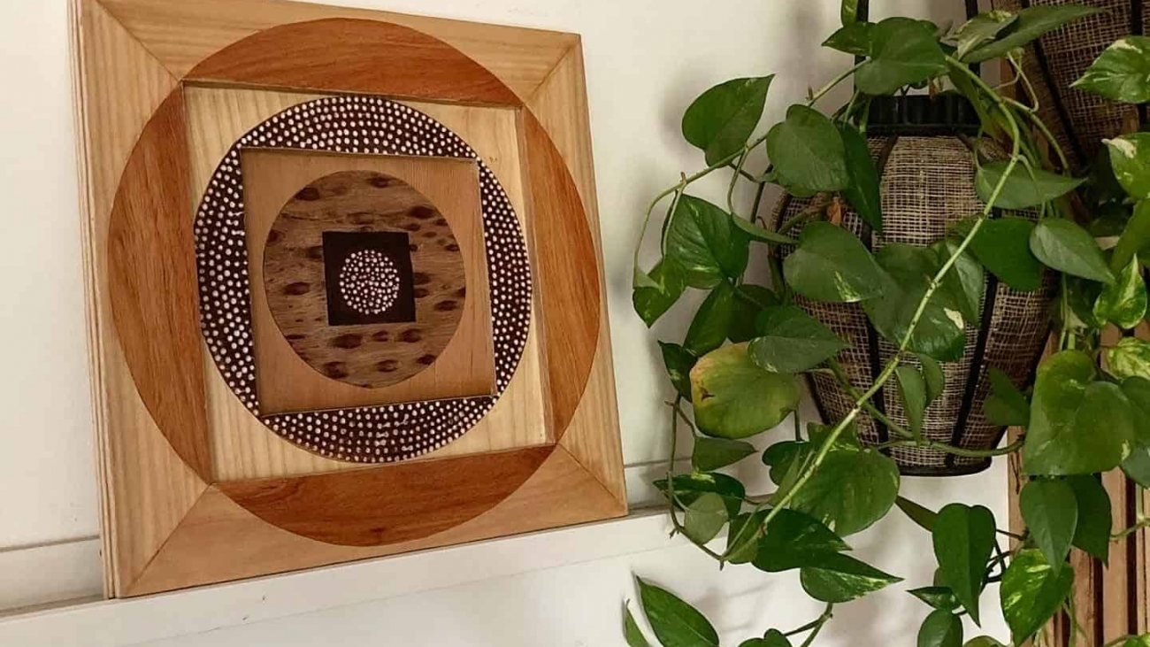 Circles & Squares wood wall art by Dagmar Maini Brisbane
