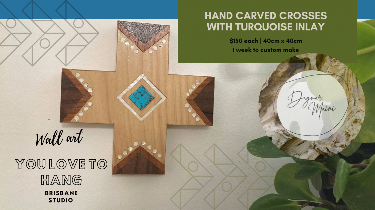 hand carved crosses with turquoise inlay Dagmar Maini wall art Brisbane