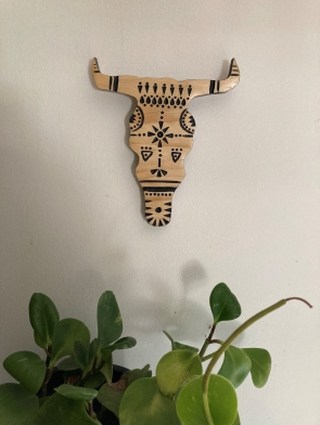 small wall hanging carved bull head Dagmar Maini Brisbane