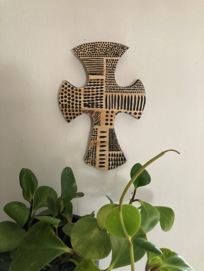 small wall hanging carved cross Dagmar Maini Brisbane