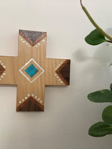 small wall hanging carved cross with turquoise inlay Dagmar Maini Brisbane