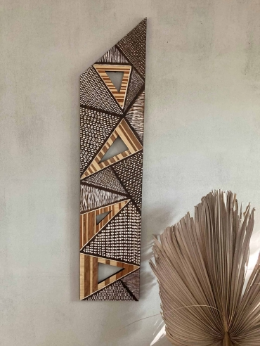 Symphony of Triangles original wooden wall art by Dagmar Maini marquetry artist Brisbane Queensland